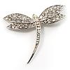 Classic Swarovski Crystal Dragonfly Brooch (Silver Tone)