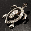 Large Enamel Crystal Turtle Brooch (Silver Tone)