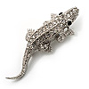 Small Crystal Crocodile Brooch (Silver Tone)