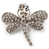 Small Crystal Butterfly Brooch (Silver Tone)