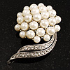 Snow White Faux Pearl Wedding Brooch