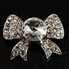 Smart Crystal Bow Brooch (Silver&Clear)