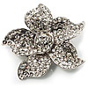 Small Diamante Flower Brooch (Silver Tone)
