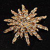 Vintage Gold Tone Swarovski Crystal Star Brooch/Pendant