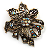 Bronze-Tone Vintage Filigree Floral Brooch
