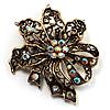 Bronze-Tone Vintage Filigree Floral Brooch