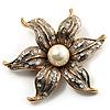 Stunning Vintage Crystal Flower Brooch (Gold&Silver Tone)