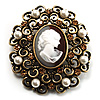 Imitation Pearl Filigree Cameo Brooch (Bronze Tone)