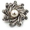 Small Diamante Faux Pearl Floral Brooch (Silver Tone)