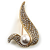 Modern Diamante Faux Pearl Leaf Brooch (Gold Tone)