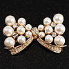 Imitation Pearl Diamante Bow Brooch (Gold Tone)
