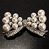 Imitation Pearl Diamante Bow Brooch (Silver Tone)