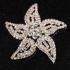 Sparkling Diamante Five Petal Star Brooch (Silver Tone)