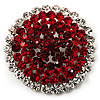 Hot Red Crystal Corsage Brooch (Silver Tone)