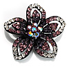 Five Petal Diamante Floral Brooch (Black&Purple)