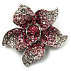 Small Pink Diamante Flower Brooch (Silver Tone)