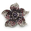 Small Purple Diamante Flower Brooch (Silver Tone)