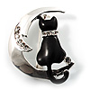 Cat And Moon Brooch
