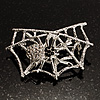 Silver Tone Spider And Web Diamante Brooch