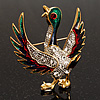 Multicoloured Enamel Goose Bird Brooch