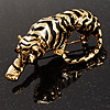 'King Of Jungle' Gold Tone Tiger Brooch