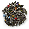 Dramatic Diamante Corsage Brooch (Black&amp;Multicoloured)