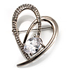 Open CZ Heart Brooch (Silver Tone)