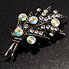 Antique Silver AB Crystal Flower Bouquet Brooch