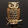Gold-Tone Wise Filigree Owl Brooch