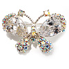 Small CZ Butterfly Brooch (Silver&Icy Clear)