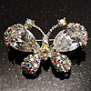Small CZ Butterfly Brooch (Silver&amp;Icy Clear)