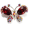Small CZ Butterfly Brooch (Silver&amp;Red)