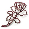 Luxurious Large Swarovski Crystal Rose Brooch (Silver&amp;Pink)