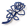Luxurious Large Swarovski Crystal Rose Brooch (Silver Tone & Sapphire Blue Colour)