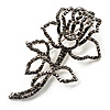 Luxurious Large Swarovski Crystal Rose Brooch (Silver&Black)
