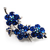 Swarovski Crystal Floral Brooch (Silver Tone & Sapphire Coloured)