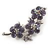 Swarovski Crystal Floral Brooch (Silver&Lilac)