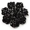 Jet-Black Crystal Corsage Flower Brooch (Black Tone)