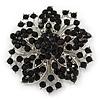 Victorian Corsage Flower Brooch (Silver&Jet Black)