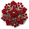 Victorian Corsage Flower Brooch (Silver&Bright Red)