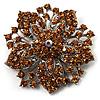 Victorian Corsage Flower Brooch (Silver&Light Citrine) [B00957]