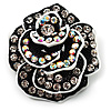Romantic Vintage Dimensional Crystal Rose Brooch (Black&amp;White)