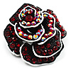 Romantic Vintage Dimensional Crystal Rose Brooch (Black&amp;Red)