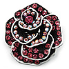 Romantic Vintage Dimensional Crystal Rose Brooch (Black&Pink)