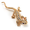 Crystal Lizard With Black Eyes Brooch (Gold Tone)