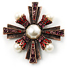 Precious Heirloom Pearl Style Cross Brooch (Copper Tone) [B00973]