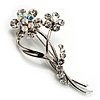 Pretty Diamante Icy Clear Daisy Brooch