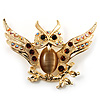 Stunning Crystal Owl Brooch (Gold Tone)