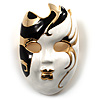 Theatrical Mask Enamel Brooch (Black&White)