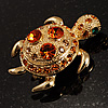 Small Amber Swarovski Crystal Turtle Brooch (Gold Tone)